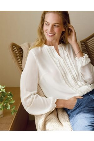 The White Company Lace-Insert Georgette Blouse