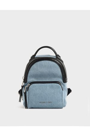 CHARLES & KEITH Mini Denim Double Zip Backpack