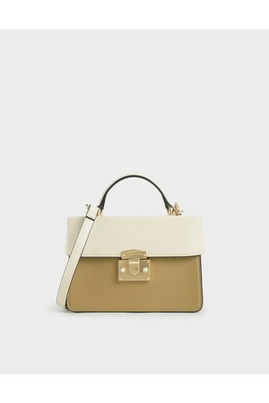 CHARLES & KEITH Two-Tone Metallic Push-Lock Handbag