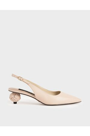 CHARLES & KEITH Leather Sculptural Heel Slingback Pumps