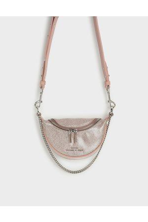 CHARLES & KEITH Girls' Glittered Chain-Embellished Crossbody Bag