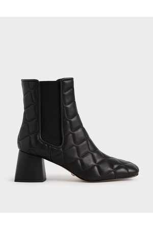 CHARLES & KEITH Quilted Leather Chelsea Boots