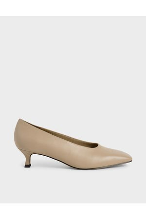 CHARLES & KEITH Square Toe Kitten Heel Court Shoes
