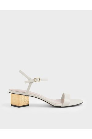CHARLES & KEITH Sculptural Chrome Heel Sandals