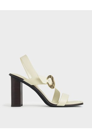 CHARLES & KEITH Leather Hammered Buckle Heeled Sandals