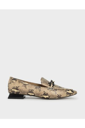 CHARLES & KEITH Snake Print Embellished Leather Loafers
