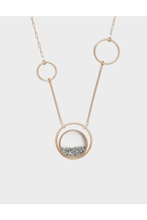 CHARLES & KEITH Silver Sparkling Sandstone Ring Detail Floating Locket Matinee Necklace