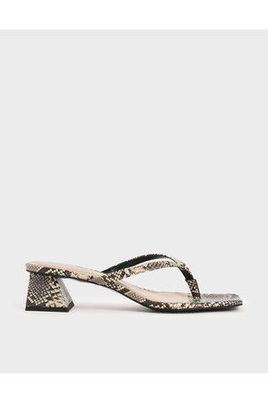 CHARLES & KEITH Snake Print Thong Heeled Sandals