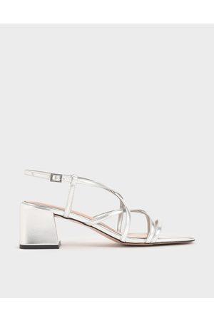 CHARLES & KEITH Metallic Criss-Cross Block Heel Sandals
