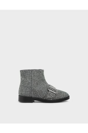 CHARLES & KEITH Girls Ankle Boots - Girls' Woven Fabric Studded Ankle Boots