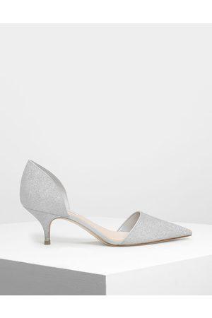 CHARLES & KEITH D'Orsay Glitter Fabric Kitten Heel Pumps