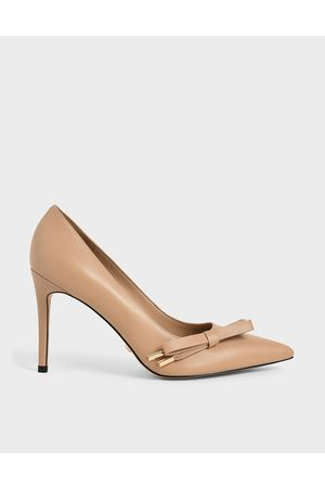 CHARLES & KEITH Women Pumps - Leather Bow Stiletto Pumps