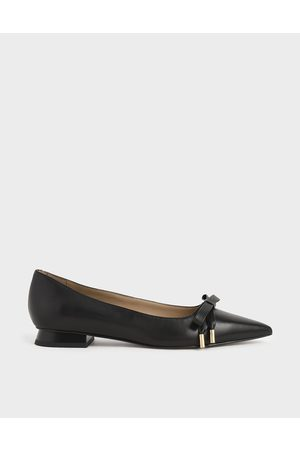 CHARLES & KEITH Women Ballerinas - Leather Bow Ballerina Flats