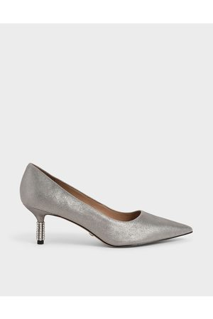 CHARLES & KEITH Women Pumps - Metallic Leather Embellished Heel Pumps