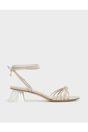CHARLES & KEITH Women Sandals - Geometric Heel Ankle Tie Sandals