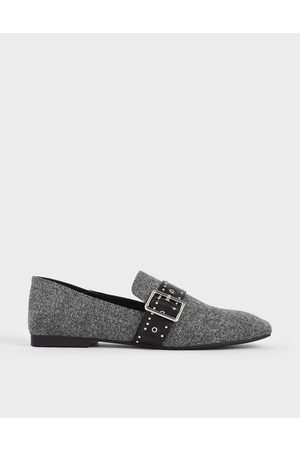 CHARLES & KEITH Woven Grommet Buckle Step-Back Loafers