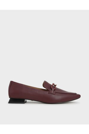 CHARLES & KEITH Embellished Leather Loafers