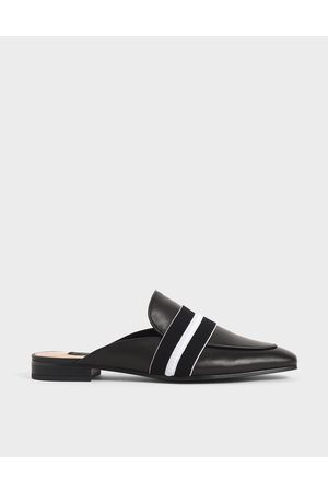 CHARLES & KEITH Women Loafers - Two-Tone Leather Loafer Mules