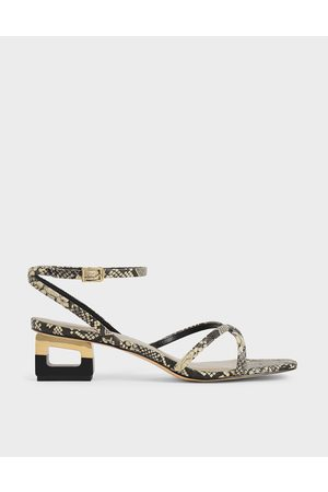 CHARLES & KEITH Snake Print Sculptural Chrome Heel Sandals