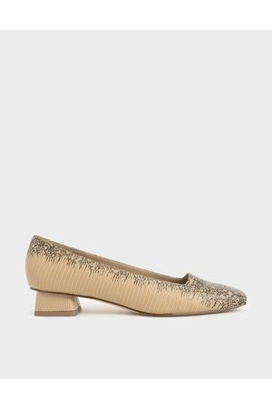 CHARLES & KEITH Snake Print Square Toe Pumps