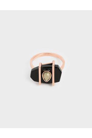 CHARLES & KEITH Onyx & Pyrite Gemstone Teardrop Ring