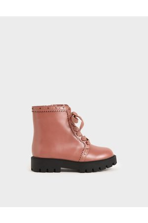 CHARLES & KEITH Girls' Studded Lace-Up Ankle Boots