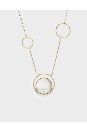 CHARLES & KEITH Pearl Finish Stone Ring Detail Floating Locket Matinee Necklace