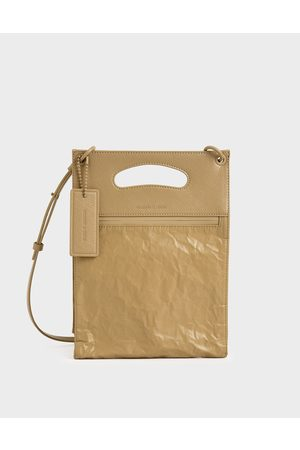 CHARLES & KEITH Crumpled-Effect Top Handle Clutch