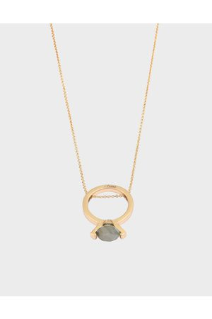 CHARLES & KEITH Labradorite Stone Ring Matinee Necklace
