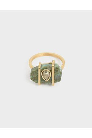 CHARLES & KEITH Chrysocolla & Pyrite Gemstone Teardrop Ring