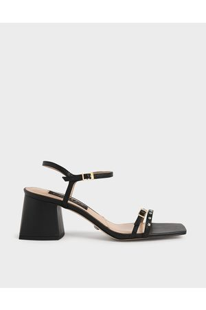 CHARLES & KEITH Studded Leather Heeled Sandals
