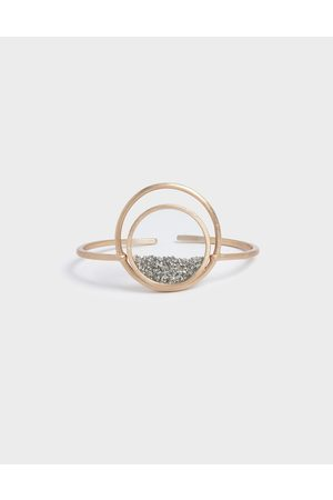 CHARLES & KEITH Silver Sparkling Sandstone Floating Locket Cuff Bracelet