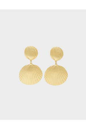 CHARLES & KEITH Round Seashell Drop Clip-On Earrings