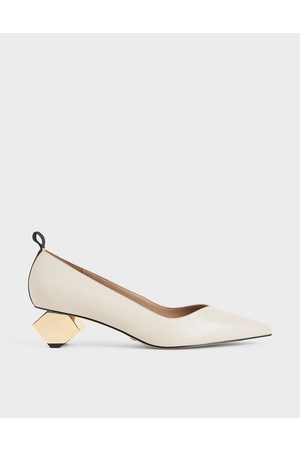CHARLES & KEITH Leather Sculptural Heel Pumps