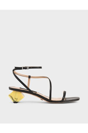 CHARLES & KEITH Leather Sculptural Heel Sandals
