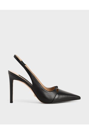CHARLES & KEITH Leather Stiletto Heel Slingback Pumps