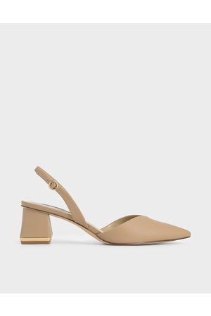 CHARLES & KEITH Trapeze Heel Slingback Pumps