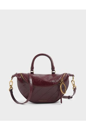 CHARLES & KEITH Wrinkled Effect Semi-Circle Crossbody Bag
