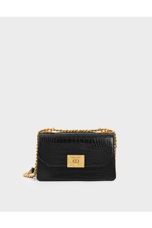 CHARLES & KEITH Croc-Effect Chain Strap Crossbody Bag