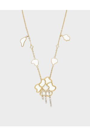 CHARLES & KEITH Crystal & Acrylic Petal Necklace