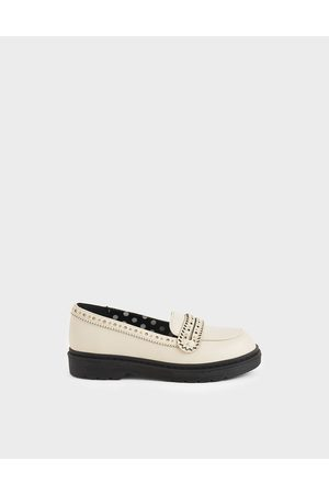 CHARLES & KEITH Girls' Studded Penny Loafers
