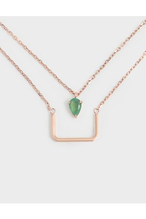 CHARLES & KEITH Green Agate Stone Layered Matinee Necklace