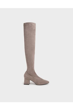 CHARLES & KEITH Women Thigh High Boots - Textured Thigh High Boots