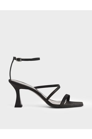 CHARLES & KEITH Women Sandals - Glitter Sculptural Heel Sandals