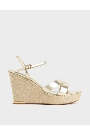 CHARLES & KEITH Metallic Asymmetric Strap Platform Wedges