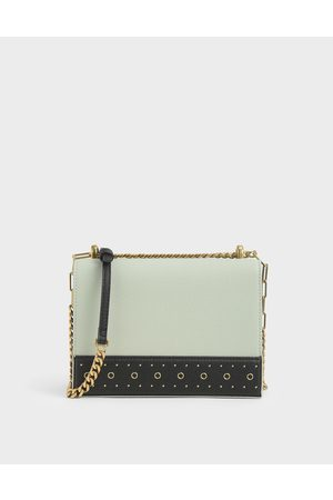 CHARLES & KEITH Women Shoulder Bags - Eyelet-Embellished Crossbody Bag