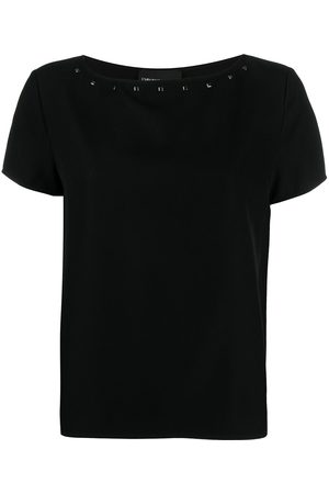 Emporio Armani Women T-shirts - Studded boat neck T-shirt