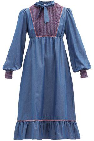 LORETTA CAPONI Women Midi Dresses - Nadia Smocked Cotton-poplin Midi Dress - Womens - Dark