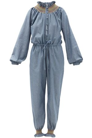Loretta Caponi - Cristina Smocked Cotton-chambray Jumpsuit - Womens