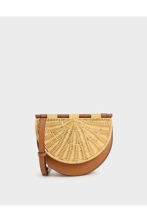 CHARLES & KEITH Women Shoulder Bags - Rattan Semi-Circle Crossbody Bag